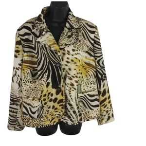 Leslie Fay Woman Animal Print Jacket Size 33W